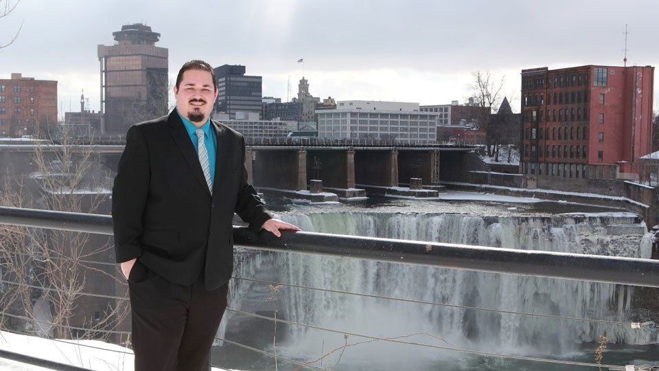 Miguel Meléndez at High Falls in Rochester, NY